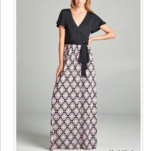 Black Pink Print Plus Size Dress!!!